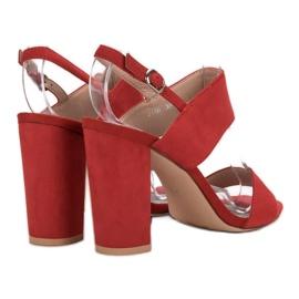 Ideal Shoes Seksowne Sandałki Na Obcasie czerwone 5