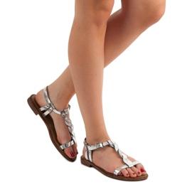 SHELOVET Srebrne Sandały szare 1