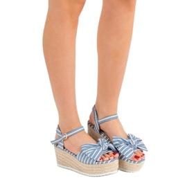 Seastar Sandały Na Koturnie Z Kokardką niebieskie 3