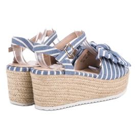 Seastar Sandały Na Koturnie Z Kokardką niebieskie 6