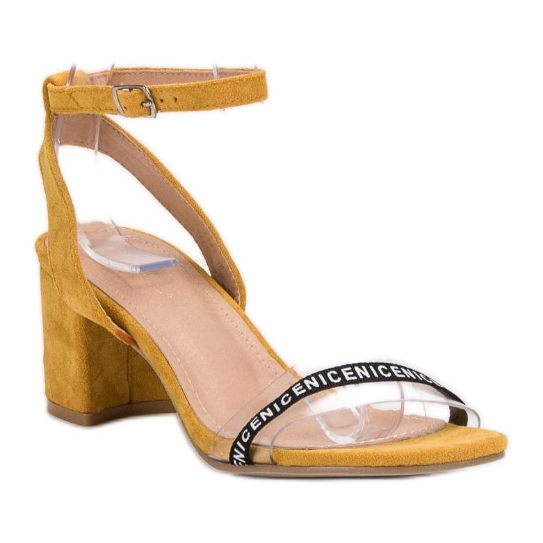 Ideal Shoes żółte Stylowe Zamszowe Sandałki zdjęcie 4