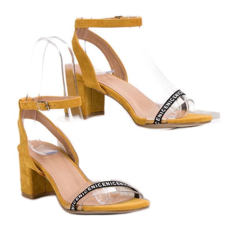 Ideal Shoes żółte Stylowe Zamszowe Sandałki zdjęcie 2