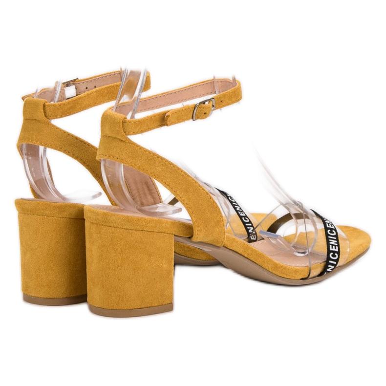 Ideal Shoes żółte Stylowe Zamszowe Sandałki zdjęcie 3
