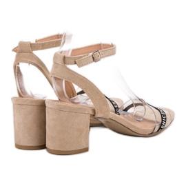 Ideal Shoes Stylowe Zamszowe Sandałki brązowe 6