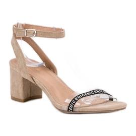 Ideal Shoes Stylowe Zamszowe Sandałki brązowe 4