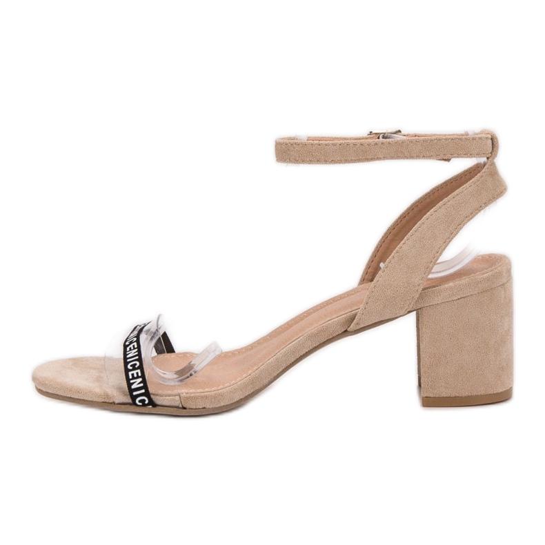 Ideal Shoes brązowe Stylowe Zamszowe Sandałki zdjęcie 5