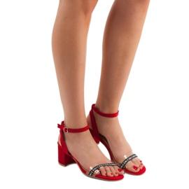 Ideal Shoes Stylowe Zamszowe Sandałki czerwone 1