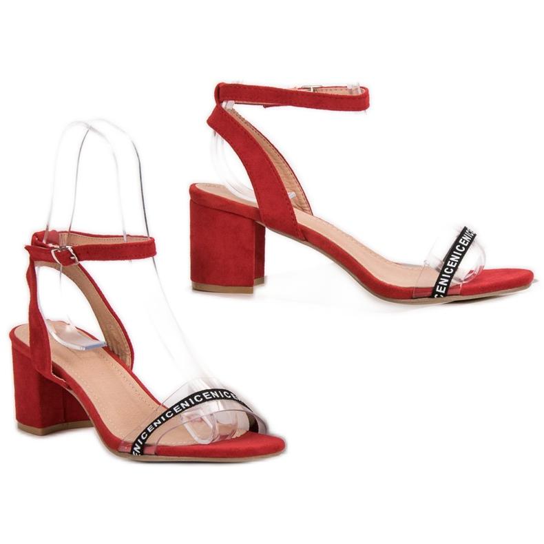 Ideal Shoes czerwone Stylowe Zamszowe Sandałki zdjęcie 6
