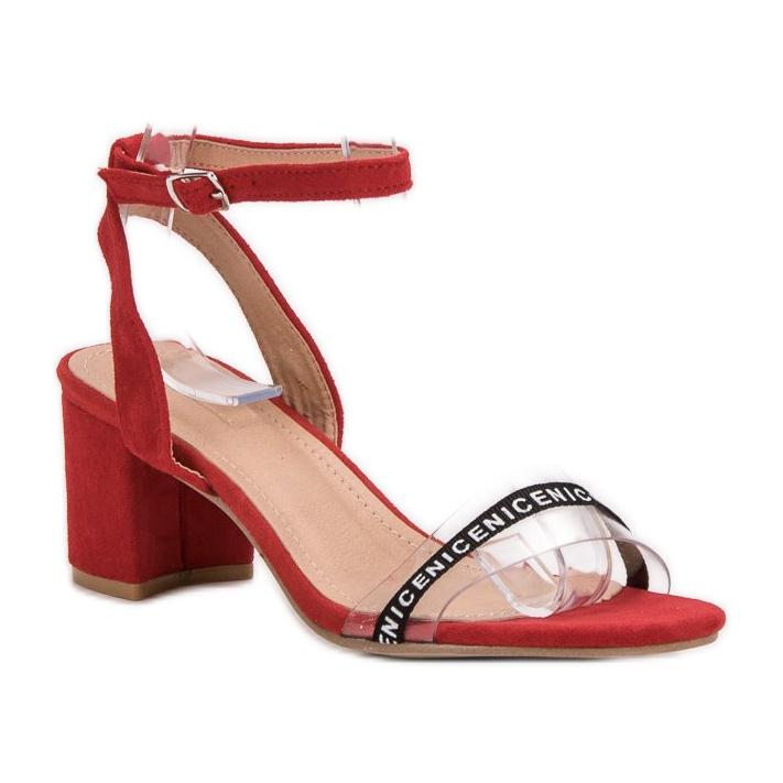 Ideal Shoes czerwone Stylowe Zamszowe Sandałki zdjęcie 3