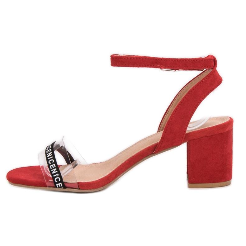 Ideal Shoes czerwone Stylowe Zamszowe Sandałki zdjęcie 4