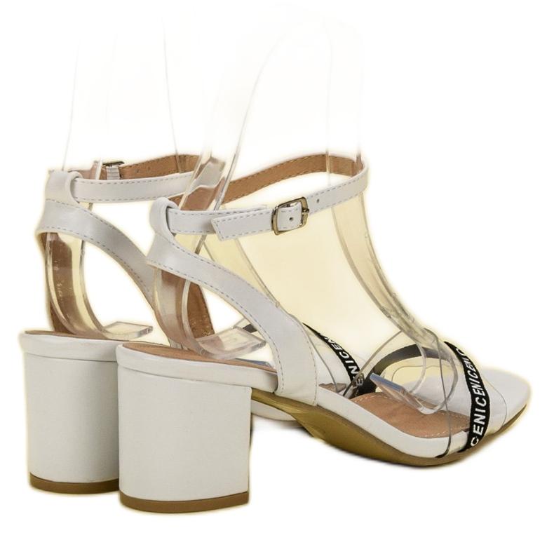 Ideal Shoes białe Stylowe Zamszowe Sandałki zdjęcie 6