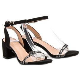 Ideal Shoes Stylowe Zamszowe Sandałki czarne 1
