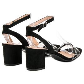 Ideal Shoes Stylowe Zamszowe Sandałki czarne 6