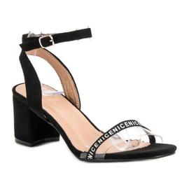 Ideal Shoes Stylowe Zamszowe Sandałki czarne 4