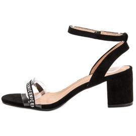 Ideal Shoes Stylowe Zamszowe Sandałki czarne 5
