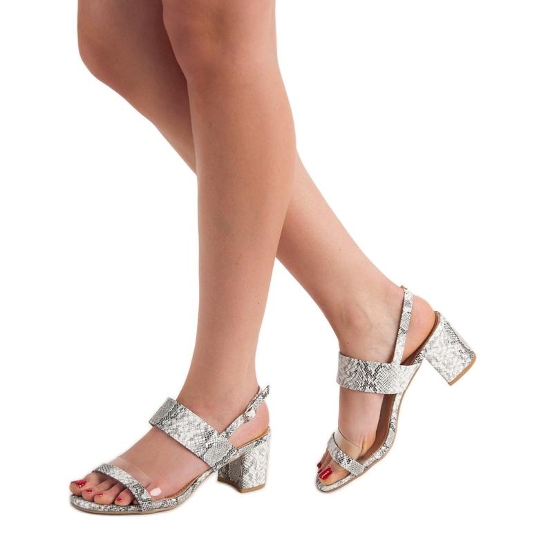 Ideal Shoes szare Modne Sandały Damskie zdjęcie 1