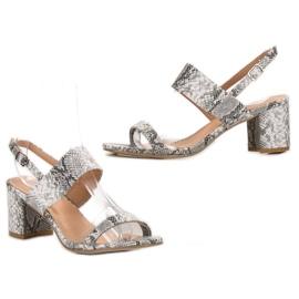 Ideal Shoes Modne Sandały Damskie szare 5