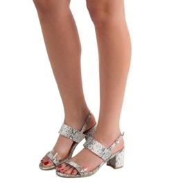 Ideal Shoes Modne Sandały Damskie szare 6
