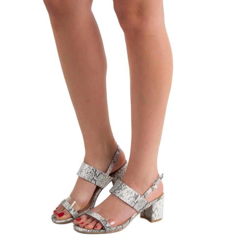 Ideal Shoes szare Modne Sandały Damskie zdjęcie 6
