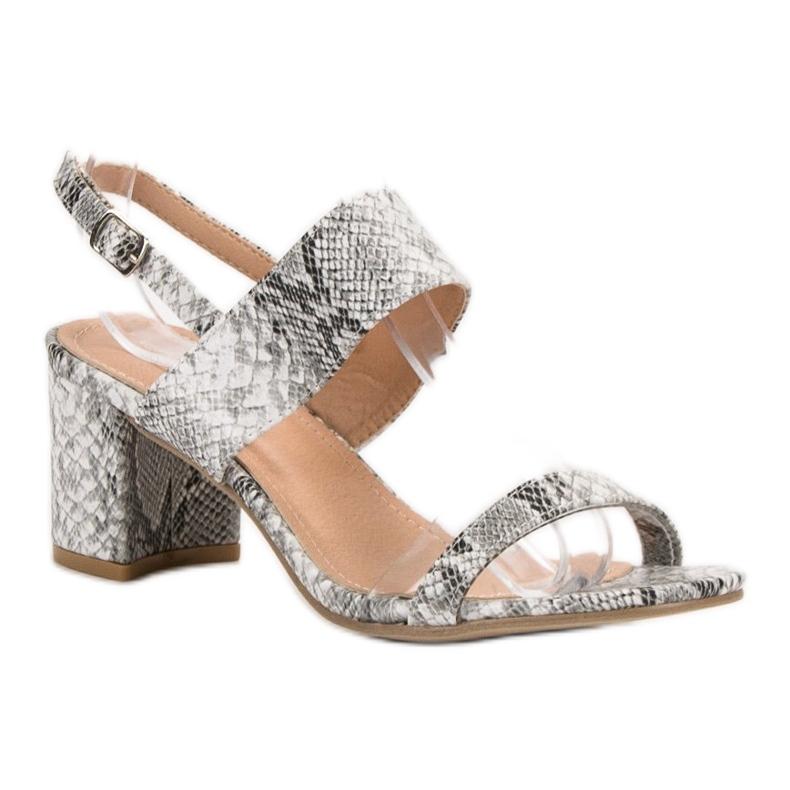 Ideal Shoes szare Modne Sandały Damskie zdjęcie 2