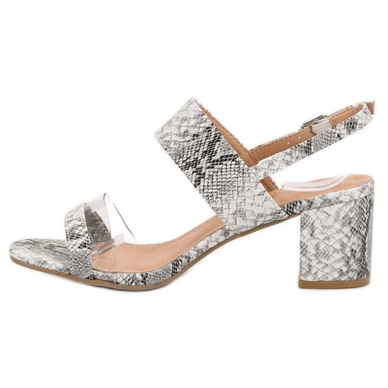 Ideal Shoes szare Modne Sandały Damskie zdjęcie 3