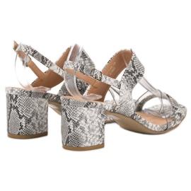 Ideal Shoes Modne Sandały Damskie szare 4