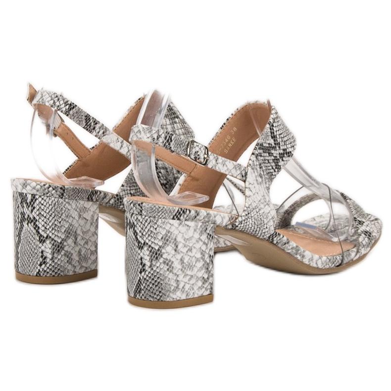 Ideal Shoes szare Modne Sandały Damskie zdjęcie 4