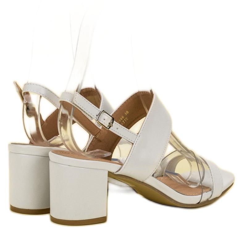Ideal Shoes białe Modne Sandały Damskie zdjęcie 5