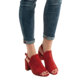 SHELOVET Ażurowe Sandały Na Obcasie czerwone 2