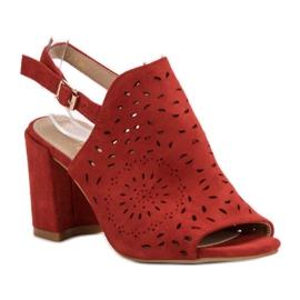 SHELOVET Ażurowe Sandały Na Obcasie czerwone 4