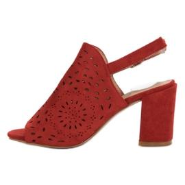 SHELOVET Ażurowe Sandały Na Obcasie czerwone 5