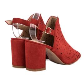 SHELOVET Ażurowe Sandały Na Obcasie czerwone 1