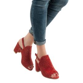SHELOVET Ażurowe Sandały Na Obcasie czerwone 3