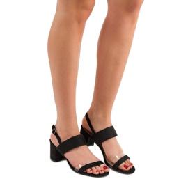 Ideal Shoes Modne Sandały Damskie czarne 1