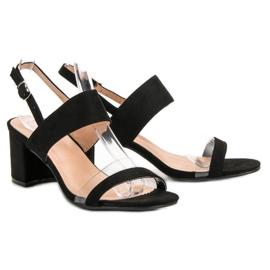 Ideal Shoes Modne Sandały Damskie czarne 6