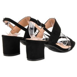 Ideal Shoes Modne Sandały Damskie czarne 5