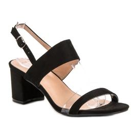 Ideal Shoes Modne Sandały Damskie czarne 3