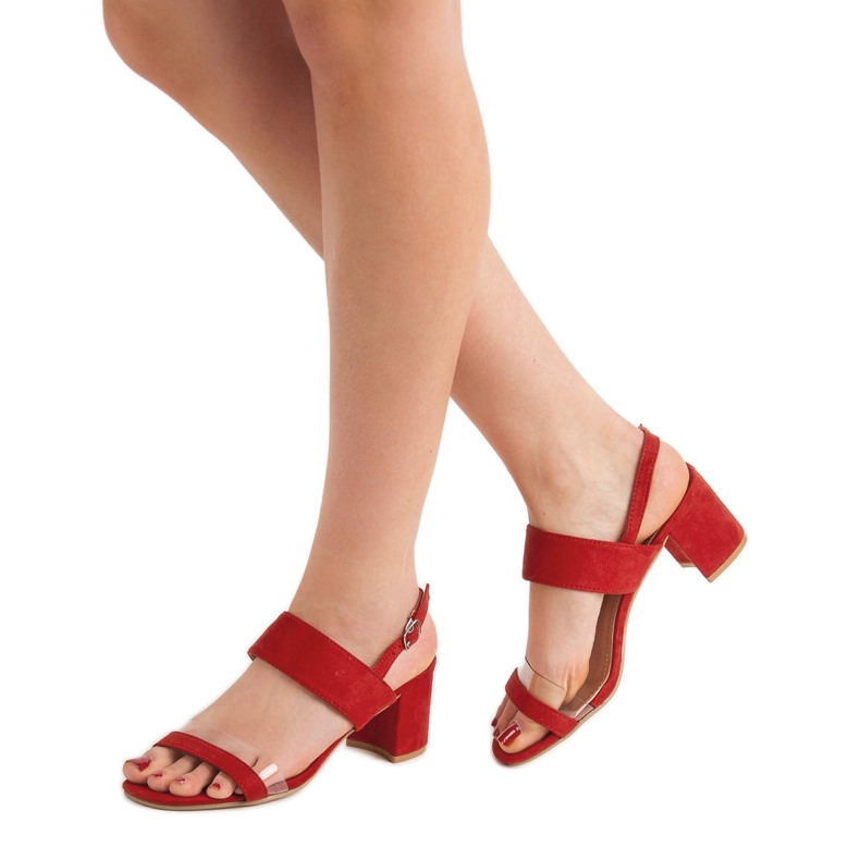 Ideal Shoes czerwone Modne Sandały Damskie zdjęcie 2