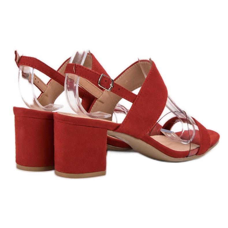 Ideal Shoes czerwone Modne Sandały Damskie zdjęcie 5