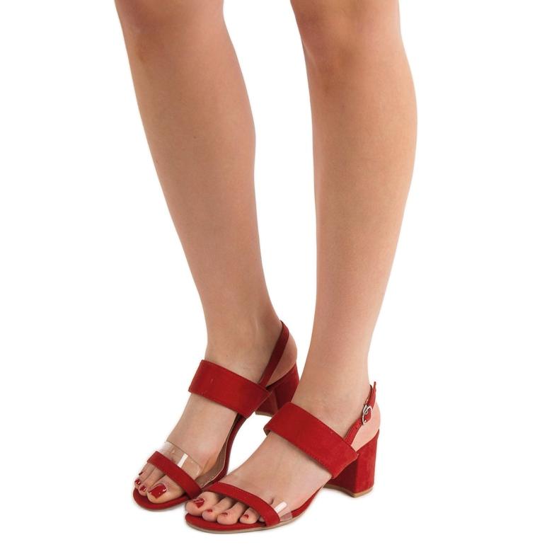 Ideal Shoes czerwone Modne Sandały Damskie zdjęcie 4