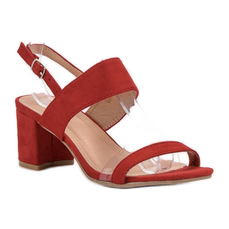 Ideal Shoes czerwone Modne Sandały Damskie zdjęcie 6