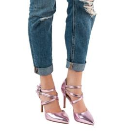 Kylie Błyszczące Szpilki Fashion różowe 6