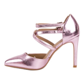 Kylie Błyszczące Szpilki Fashion różowe 2