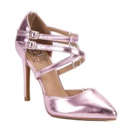 Kylie Błyszczące Szpilki Fashion różowe 3