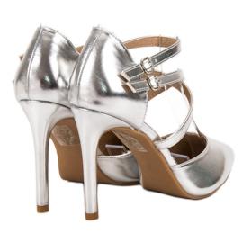 Kylie Błyszczące Szpilki Fashion szare 5