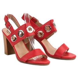 Kylie Czerwone Sandałki Na Obcasie 5