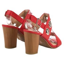 Kylie Czerwone Sandałki Na Obcasie 4
