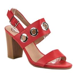 Kylie Czerwone Sandałki Na Obcasie 2