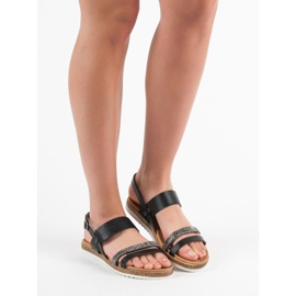 SHELOVET Sandałki Z Cyrkoniami czarne 2