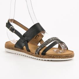 SHELOVET Sandałki Z Cyrkoniami czarne 4